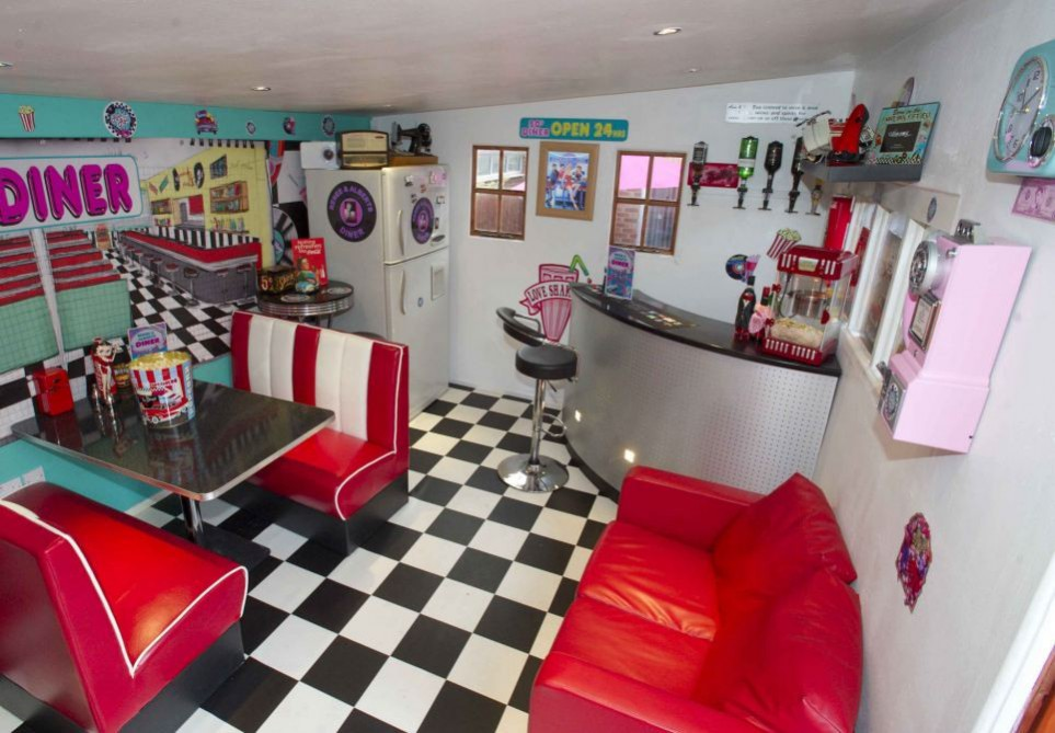 DINER SHE SHEDS idea. home away from home complete with a jukebox, fridge, popcorn maker and bar. Garden design ideas the national design academy