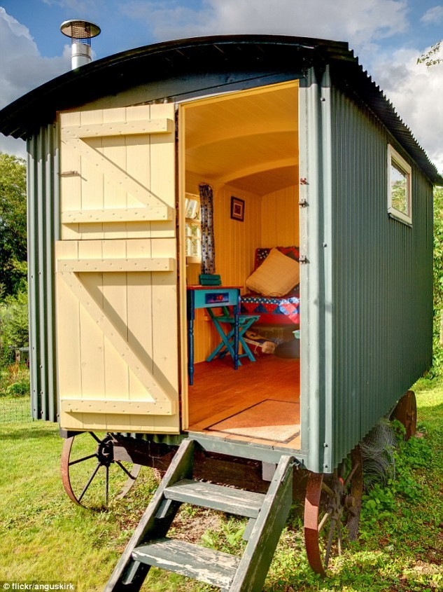 Image: Flickr AngusKirk Gypsy Wagon She Sheds example. National Design Academy Garden Design Ideas