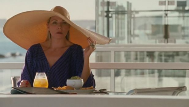 Samantha Jones on her Malibu beach house balcony from the Sex and the City movie. Set design interior design ideas.
