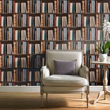 Re-create the ceiling high bookshelves with The Grandeco Library Book Shelf Wallpaper by Go Wallpaper.