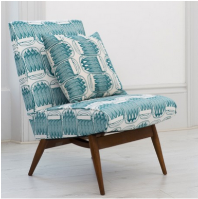 Thornback & Peel Parker Knoll chair in their teal sardine print fabric. Antiques inspired upcycling