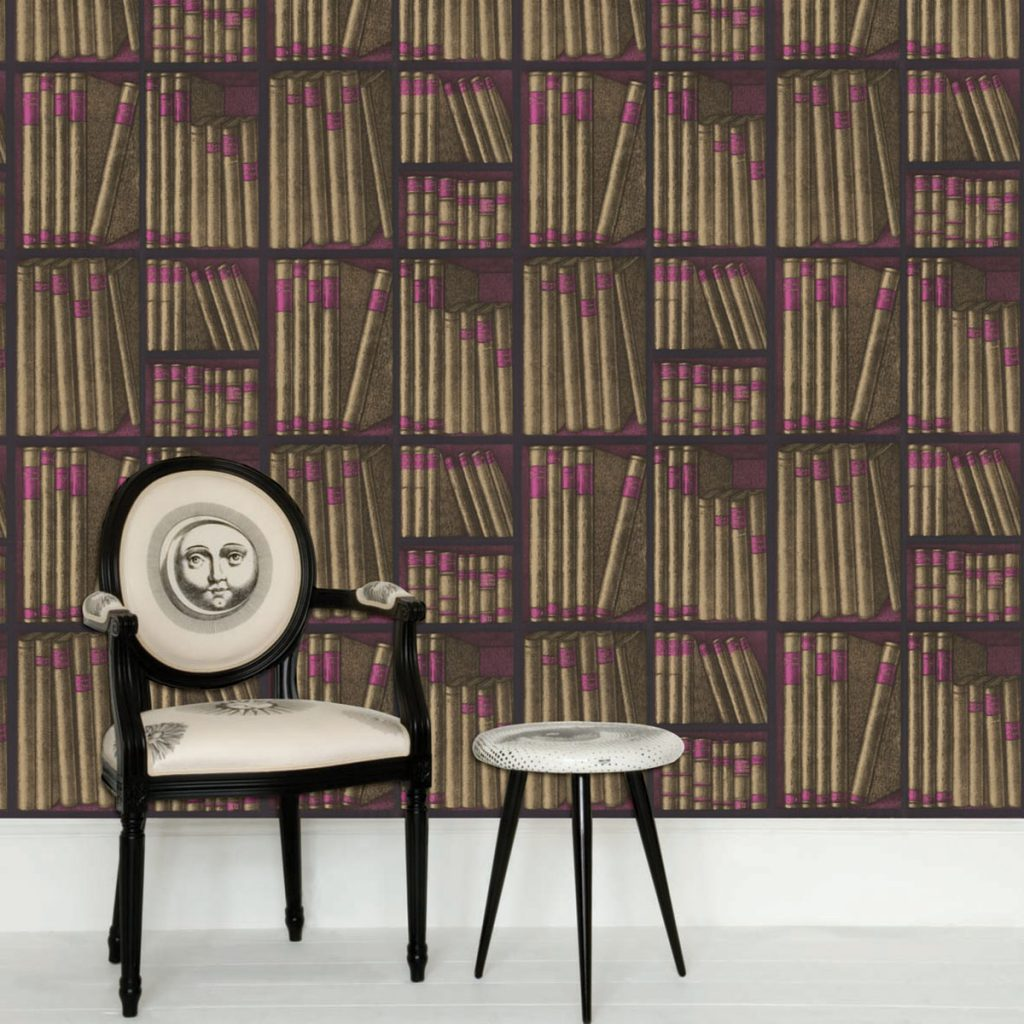 Antique inspired upcycling: Cole & son Fornasetti Collection Ex Libris wallaper