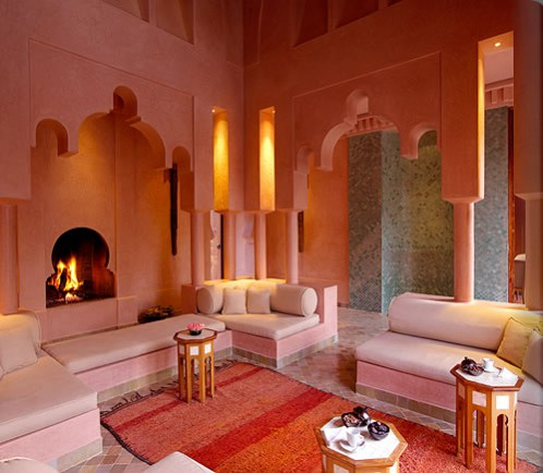 Sex and the City Set Design Interior Design Trends. The luxurious Amanjena Hotel interior in Morocco. Pink living room.