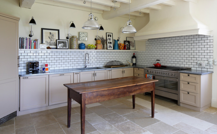 Antique inspired upcycling: modern metro tiles and antique furniture. Image McQuin Partnership Interior Design