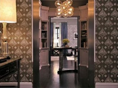 SATC 2 grand foyer entrance and shot into the library and hallway in Carrie and Big's apartment. Set design inspired interior design trends.