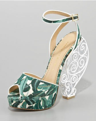 Charlotte Olympia Tropical print wire heel sandals. How to incorporate the tropical trend.