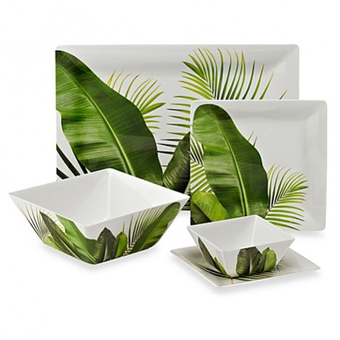Bed Bath and Beyond poolside palms dinnerware collection. Incorporating the tropical trend