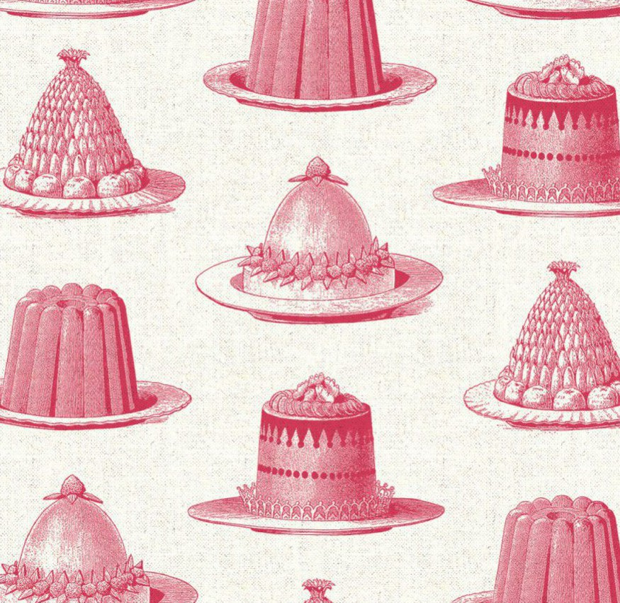 Charlotte's kitchen sex and the sity 2 set design inspired interior design ideas. Thornback & Peel Raspberry jelly cake ivory linen fabric.