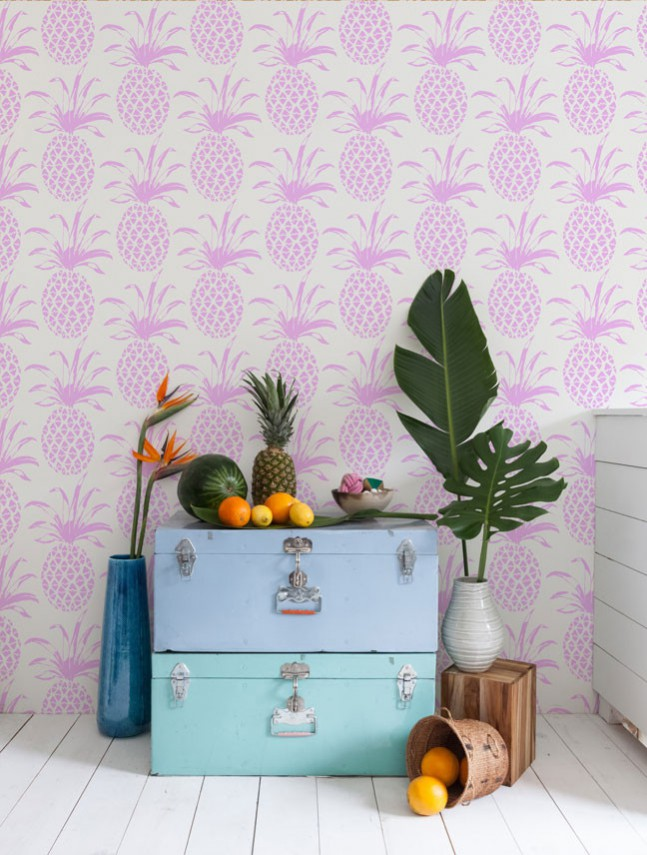 Incorporating the tropiclal trend into your interior featuring Pina Sola wallpaper by Aimee Wilder in sola orchid.