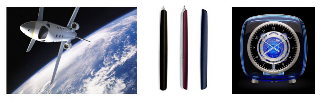 Cross-disciplinary Design example, Marc Newson Images left to right Space Plane, EADS Astrium. Nautilus retractable pens. Hermes Atmos 566 clock,Jaeger Le-Coultre. Accessed:14.08.15. www.marc-newson.com