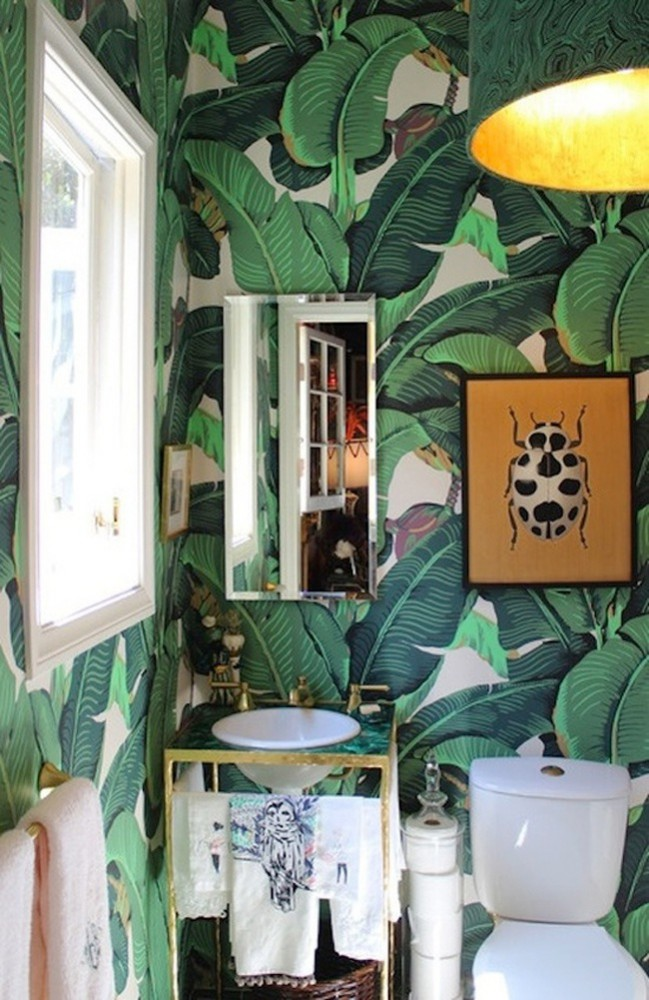 Marjorie Skouras Los Angeles Interior designer featured the infamous, iconic tropical trends print in her design.