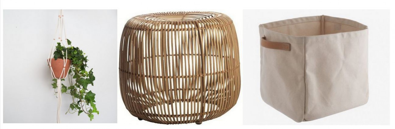 how to incorporate the tropical trend. Copper bead plant hanger by Att Pynta, round rattan stool by Alexander and Pearl £175 from furnish.co.uk, Innes natural storage bags from Habitat, £25.00.