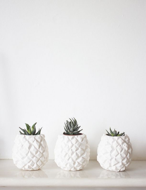 Pineapple succulent plaster pots by Janneke, who runs Papermaché, £12 each. How to incorporate the tropical trend.
