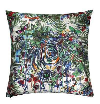 Rainforest inspired Christian Lacroix silk cushion, £110.00 from Amara Living. How to incorporate the tropical theme into your interior.