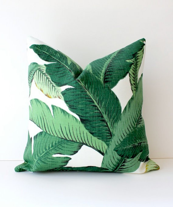 Etsy tropical print cushion with banana leaf print. How to incorporate the tropical trend