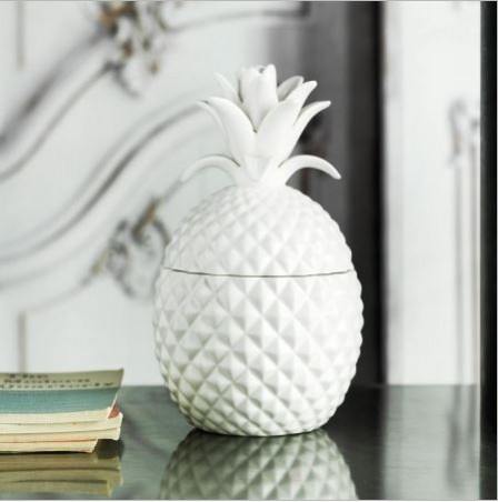 Graham and green ceramic pineapple jar. How to incorporate the tropical trend.