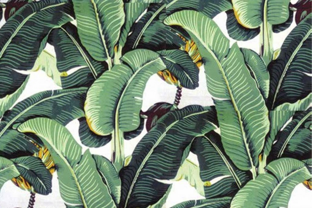 How to incorporate the tropical trend into your interior. Martinique's iconic banana leaf patterned wallpaper.
