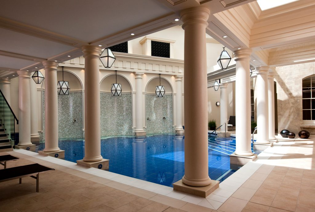 The Gainsborough Hotel Bath & spa hotel. BA Hons Heritage interior design project case study: NDA student Claire Truman. The Gainsborough Bath Spa, Grade II listed buildings turned into a five-star spa hotel project. The spa and pool. image: EPR Architects.