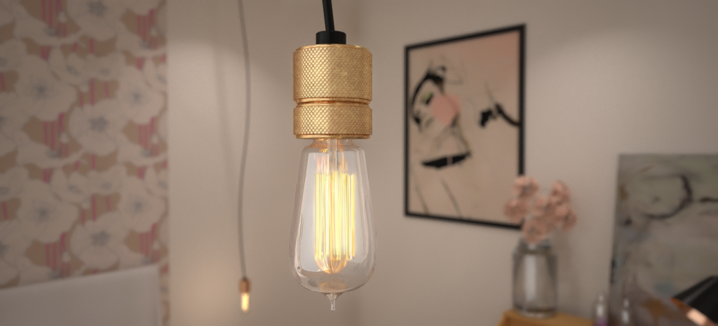 Guest Blogger Anita Brown's Top 5 Tips: How to Create a Realistic Interior Render. Example 2. Anita Brown 3D Visualisation Edison Bulb visual.