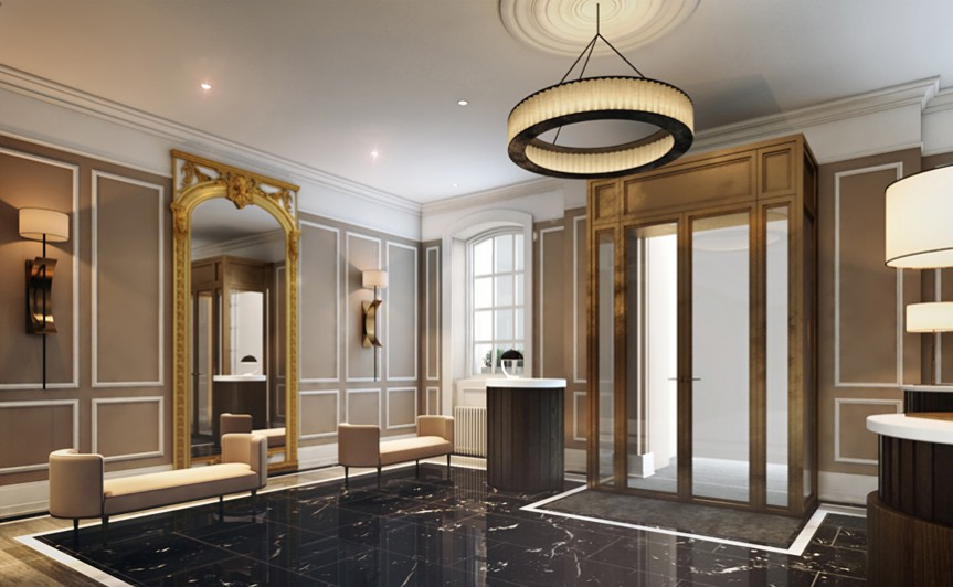 The Gainsborough Hotel Bath & spa hotel. BA Hons Heritage interior design project case study: NDA student Claire Truman.The Gainsborough Bath Spa, Grade II listed buildings turned into a five-star spa hotel project. Waiting room image: EPR Architects.