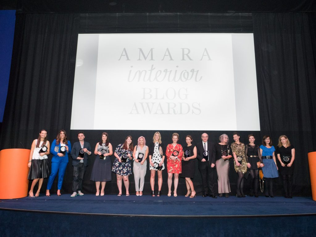 The winners with their trophies at this year's Amara Interior Blog Awards. Image courtesy of John Nassari