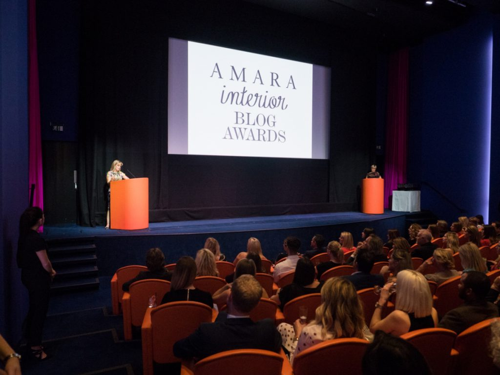 The Amara Interior Blog Awards took place in the glamorous Ham Yard Hotel theatre. We took our seats excited to hear who'd one in each category. Image courtesy of John Nassari