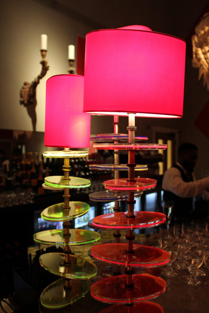 The Amara Interior Blog Awards venue. The Dive Bar has the most amazing decor, neon edged lamps, a huge chandelier and a giant orange juicer to name a few..