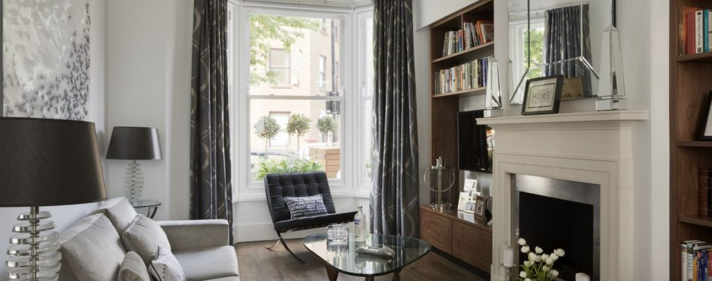 Nicholas Sunderland interiors interview. The Kensington West project demonstrates mixing contemporary and period details within a design scheme. Contemporary living room mixed with period features.
