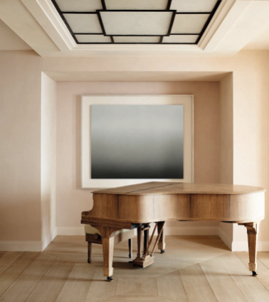 Theme of the Month: Antiques in a Contemporary Context. Vervoordt has paired an antique Steinway piano with a seascape painting by Japanese photographer, Hiroshi Sugimoto in this South of France Villa.