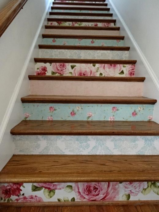 Hallway flooring ideas. PHOTOBUCKET (N/D) wallpaper risers. Create a stenciled stair risers by using a combination of different stencils but use the same colour, or save off cuts of wallpaper and mix colours and patterns to create an eye catching staircase.