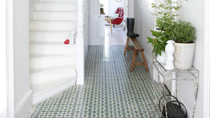 Hallway flooring ideas. AUTOMATISM (2010) Moroccan tiles. Create a focal point in a hallway with blue and green Moroccan tiles