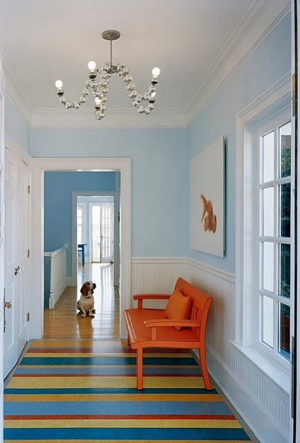 Hallway flooring ideas. HOUSE OF TURQUOISE (2014) striped rug. horizontal striped rugs work well in long narrow spaces giving the illusion of a much wider space.