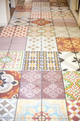 Hallway flooring ideas; FABULOS (2012) vintage tiles. Create you own striking hallway with mis-matched vintage tiles to recreate a Victorian Minton tiled floor.