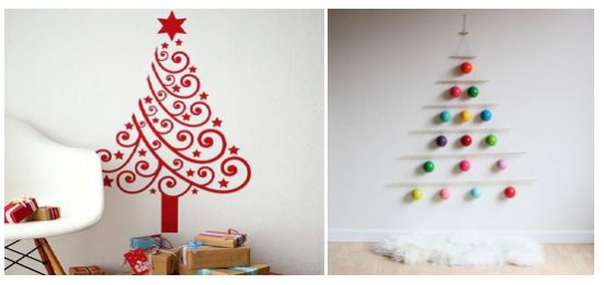 NDA's alternative Christmas Tree ideas and inspiration: For the creative, create a Christmas tree out of wall decals or hanging baubles.
