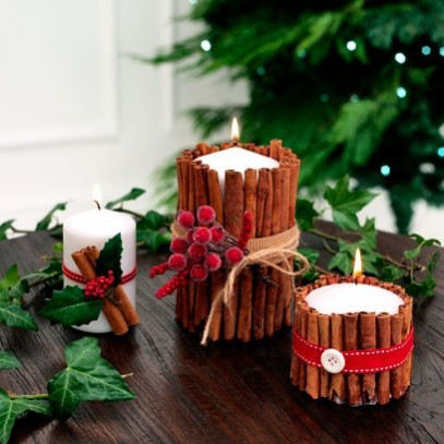 NDA's Crafting at Christmas: How-to Christmas Crafts: Christmas lighting can be easily achieved by decorating candles with cinnamon sticks and berries for a festive touch.