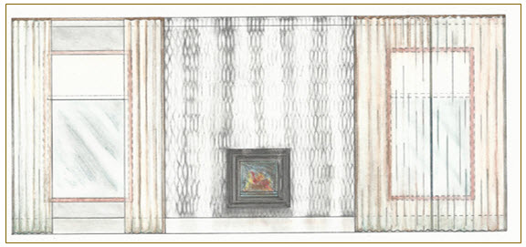 technical drawing, curtains and fireplace