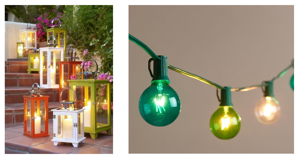 colourful outdoor lanterns and string lights