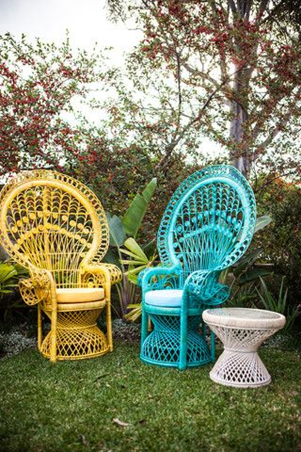 colourful wicker outdoor chairs and side table