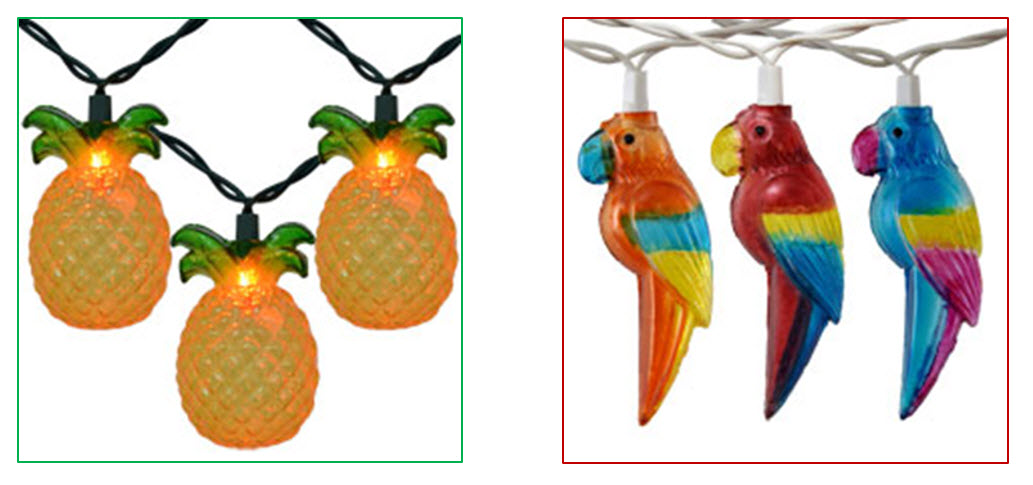fun pineapple and parrot string lights