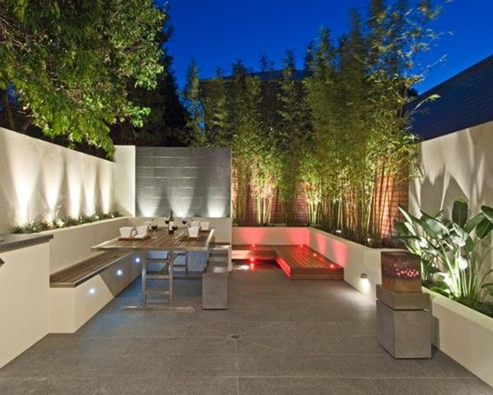 modern outdoor garden with uplighting