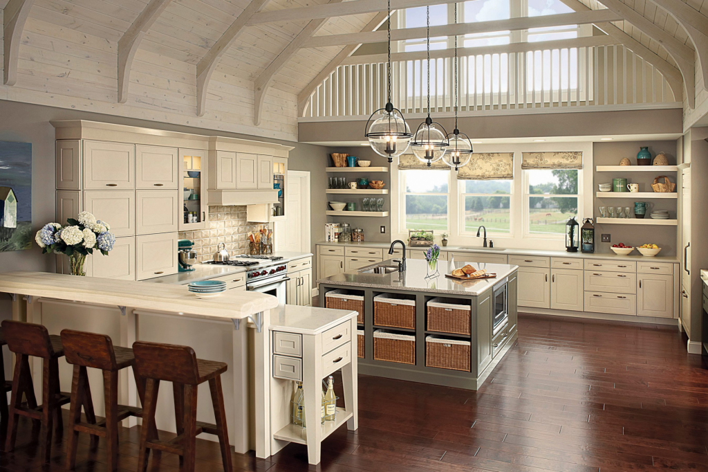 Farmhouse kitchen design - triple height ceiling