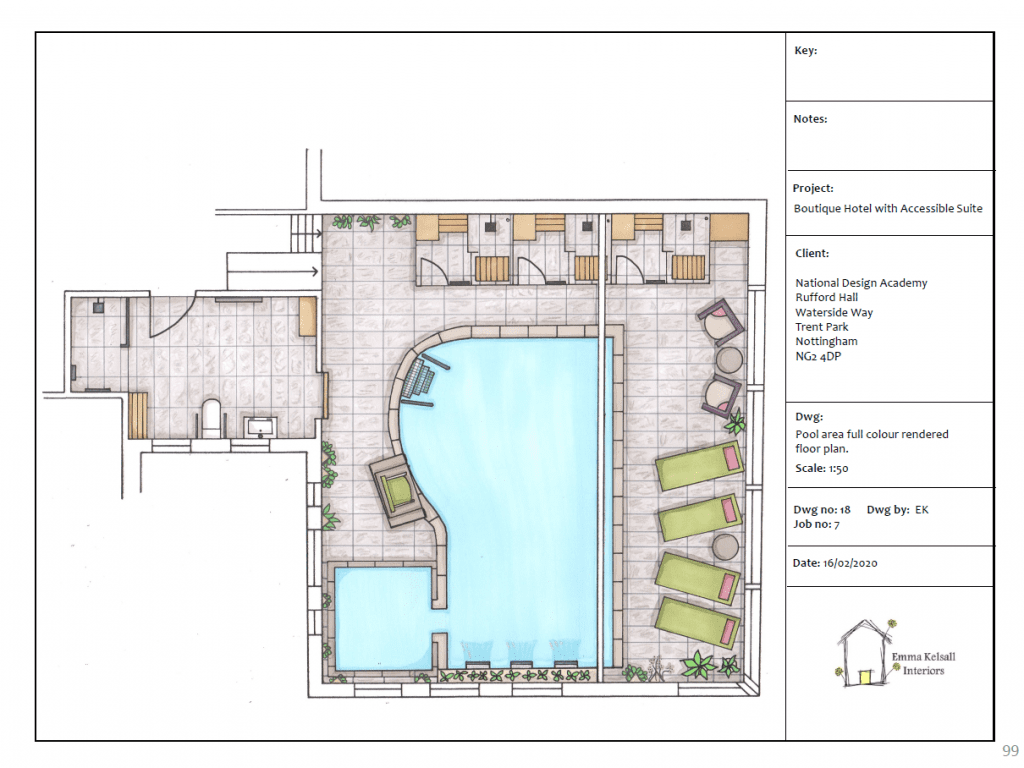 Boutique Hotel Pool area fully rendered floor plan
