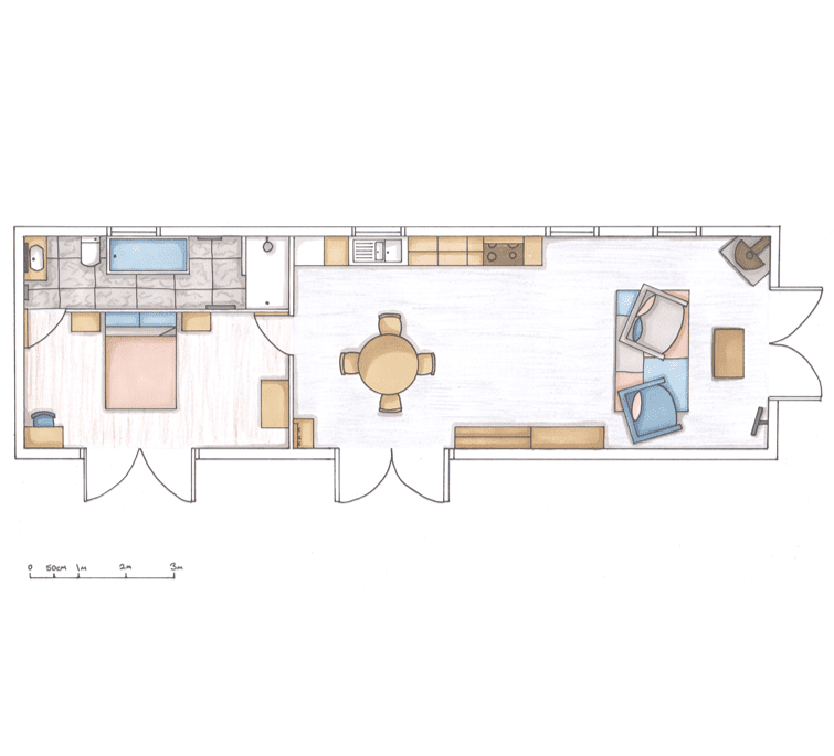 Loscombe Down Holiday Barn fully rendered floor plan