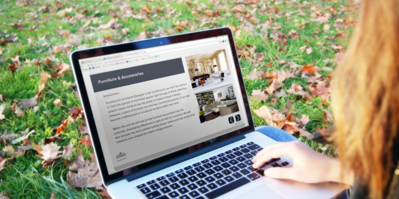 Studying interior design online in the park