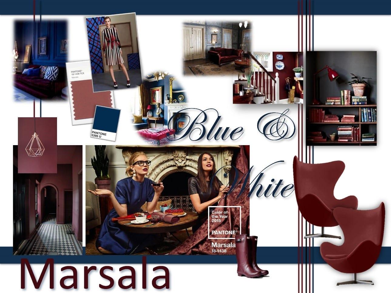 interior design board blue and white