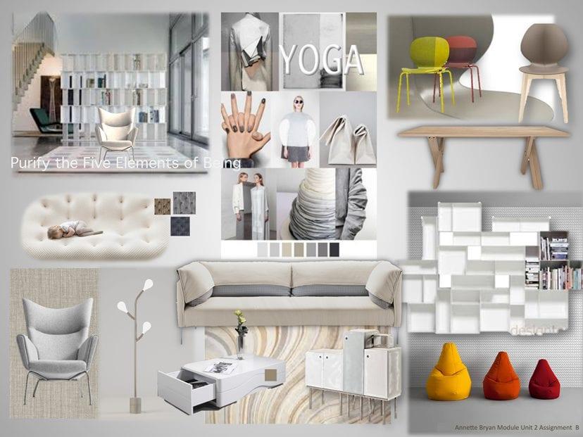 interior design board yoga theme