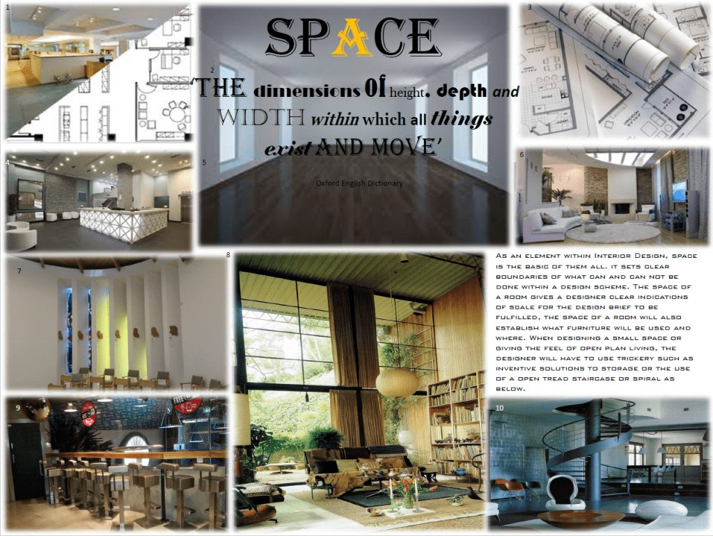 Damien Mayhew mood board on the dimensions of space
