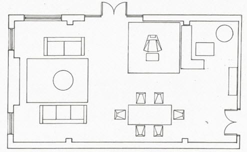 technical drawing floorplan for front room